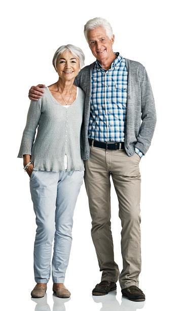 Studio portrait of a senior couple posing against a white background